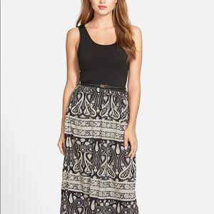 DEX maxi dress black & ivory paisley